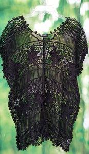 Black crochet boho style top/coverup xl